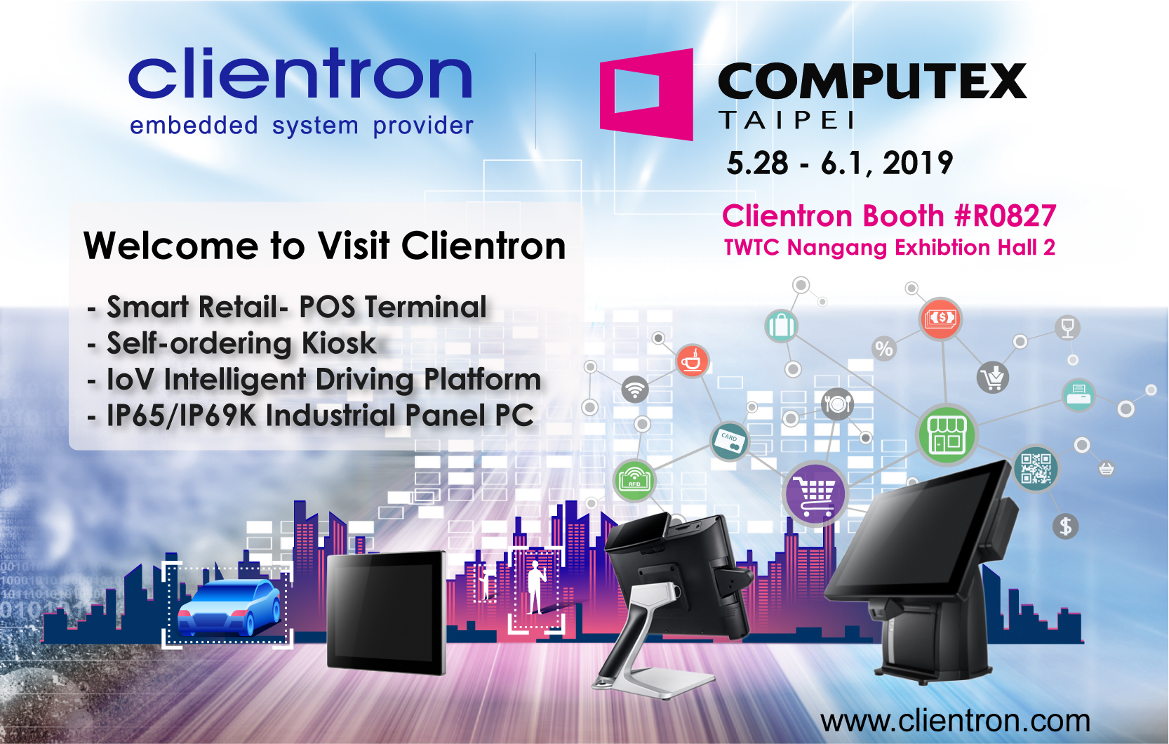 Clientron To Showcase The Latest Pos System And Iov Intelligent In Vehicle Driving Solution At Computex 2019 News Clientron Corp Thin Client Pos System Automotive Electronics Smart Office Smart Retail Smart Automotive