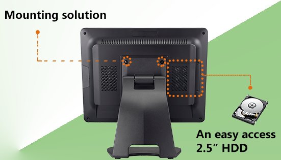 "All-in-One POS terminal - PT3200:Easy-access 2.5"" HDD tray for installation and maintenance"