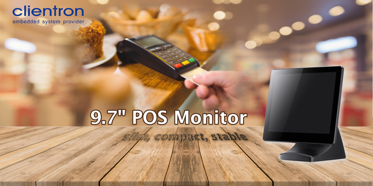 slim, compact POS monitor, 9.7 inches POS monitor