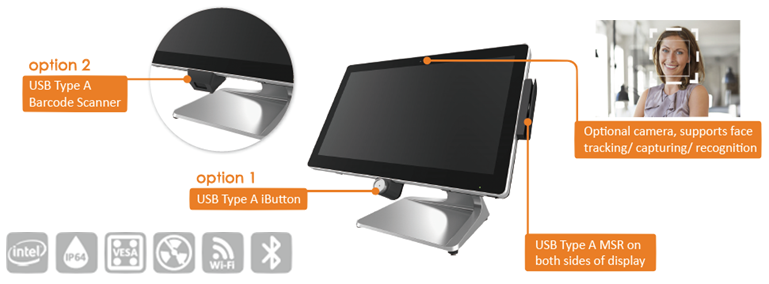 optional peripherals for wide screen POS