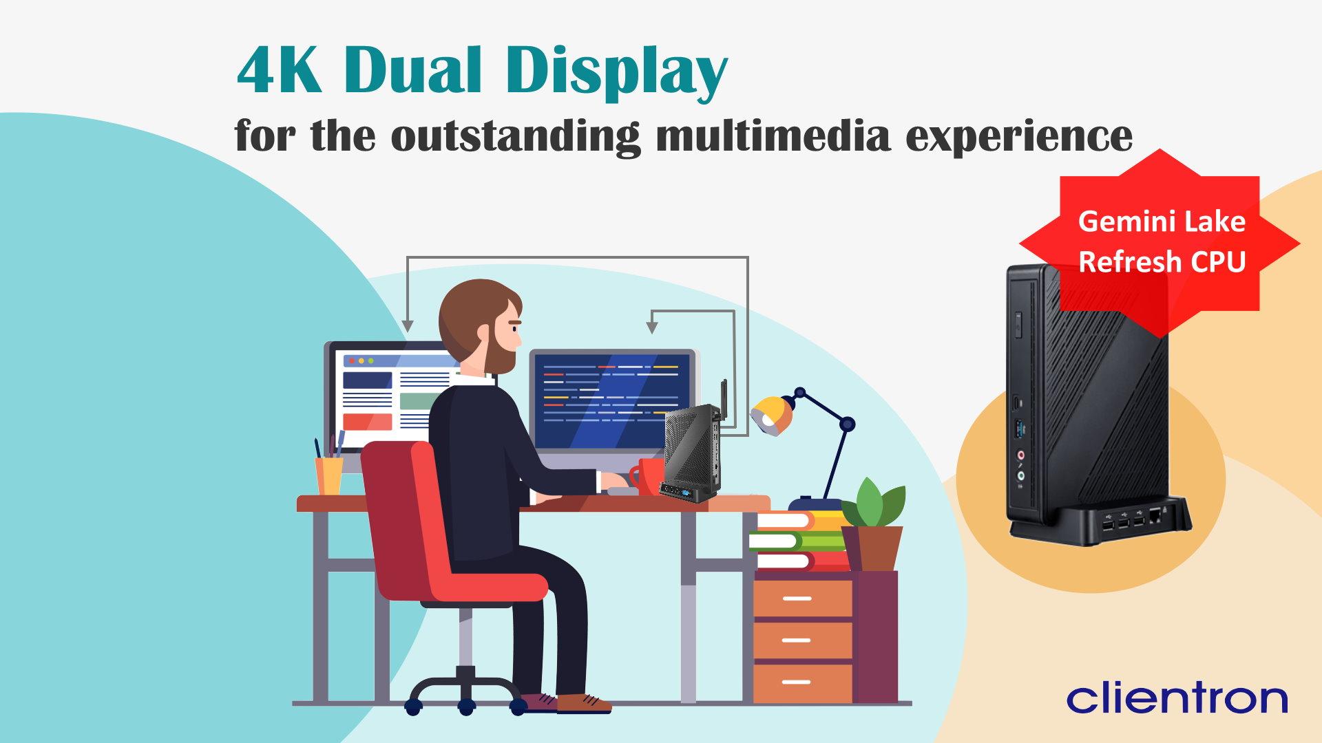 Clientron 4K dual displlay thin client S810