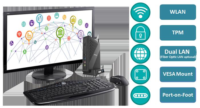 Smart client, thin client, Intel thin client, VDI solution, VDI client, citrix client, end user device, enterprise client, WiF, TPM, Dual LAN
