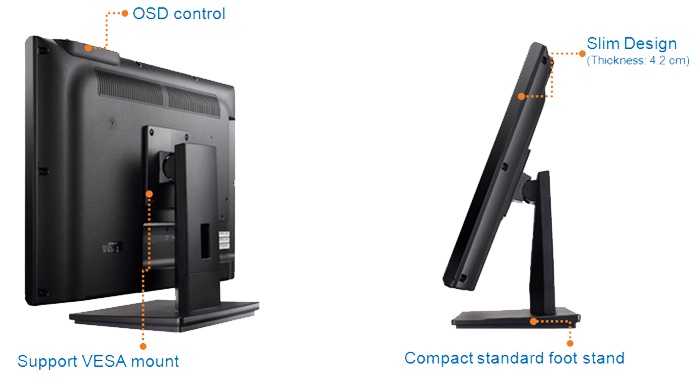 Clientron All-in-One Thin Client TC210, Solid Construction & Slim Chassis Design