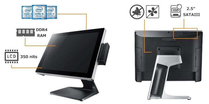 edge computing POS terminal, high performance Clientron POS terminal, multitasking POS termina system, core-i POS terminal