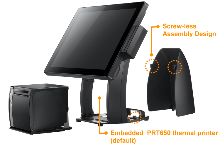 PST650 POS Terminal, Free space for multi-type cube type thermal printer