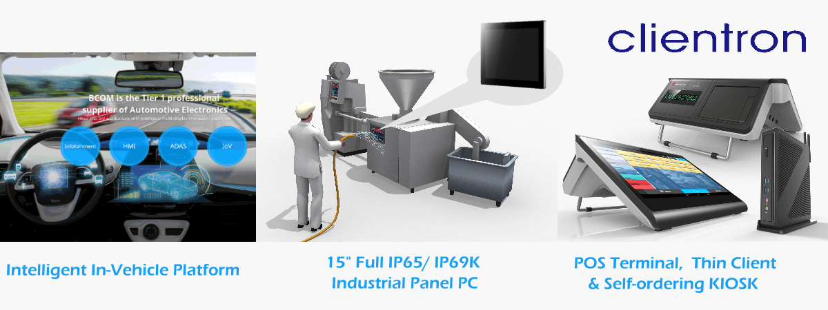 Clientron intelligent in-vehicle platform, full IP69K industrial panel pc, POS terminal, self-ordering KIOSK, embedded system